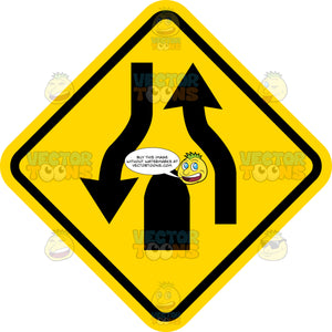 End Divided Roadway Sign