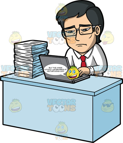 Simon Looking Stressed At Work. An Asian man wearing a white shirt, red tie, and eyeglasses, sitting at a desk with a laptop and large stack of papers on it, looking stressed out