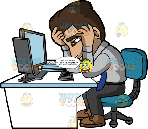 Gabriel Stressed At Work. A Hispanic man wearing dark gray pants, a gray shirt, blue tie, and brown shoes, sitting with his head resting in his hands and looking stressed out at his job