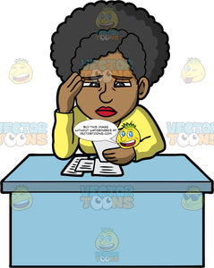 Jackie Concerned About Paying Her Bills. A black woman wearing a long sleeve yellow shirt, sitting at a desk and looking worried about all the bills she has to pay