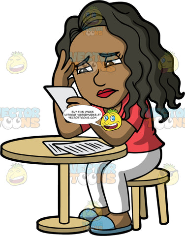 Maggy Worried About Paying Bills. A black woman wearing white pants, a dark pink t-shirt, and blue slippers, sitting on a stool at a table with her head resting on her hand and looking concerned over bill payments