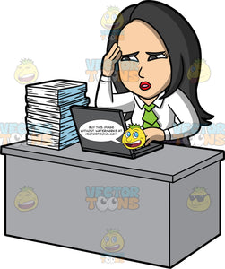 Connie Stressed About Her Work. An Asian woman wearing a white blouse with a green ruffle, sitting at her desk with a laptop and stack of papers on it, rubbing her temple with one hand and looking stressed