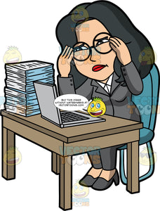 Lynn Stressed With The Amount Of Work She Has To Do. An Asian woman wearing a gray pant suit, gray high heels, and round eyeglasses, sitting in a chair behind a desk with a laptop and a big stack of papers on it, rubbing her temples and looking stressed
