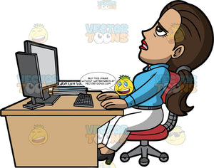 Isabella Stressed At Work. A Hispanic woman wearing white pants, a blue blouse, and high heels, behind a desk with a computer and a stack of papers on it, leaning back in a red chair looking stressed out