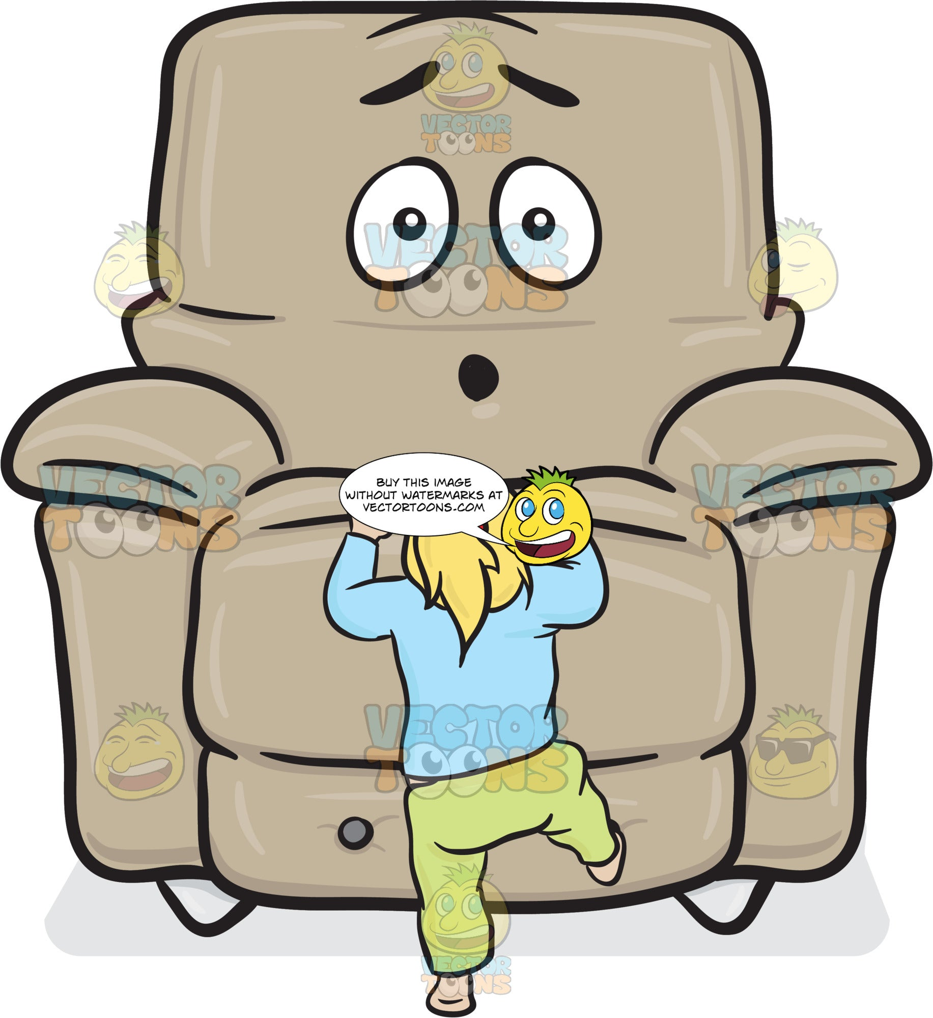 Stuffed Chair Dumbfounded By A Toddler Climbing Onto The Seat Emoji
