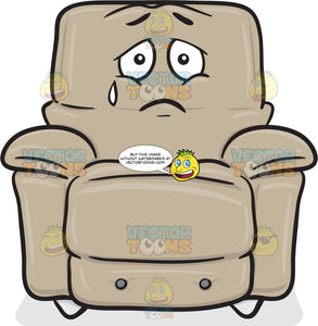 Stuffed Chair Expressing Sadness With A Tear Emoji