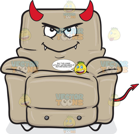 Stuffed Chair Naughtily Grinning With Fangs Horns And Tail Emoji