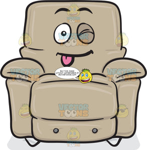 Stuffed Chair Winking And Sticking Out Tongue Emoji