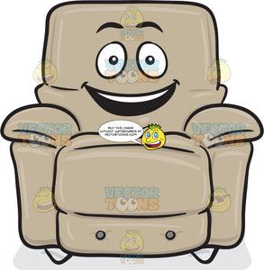 Stuffed Chair With Delighted Look On Face Emoji
