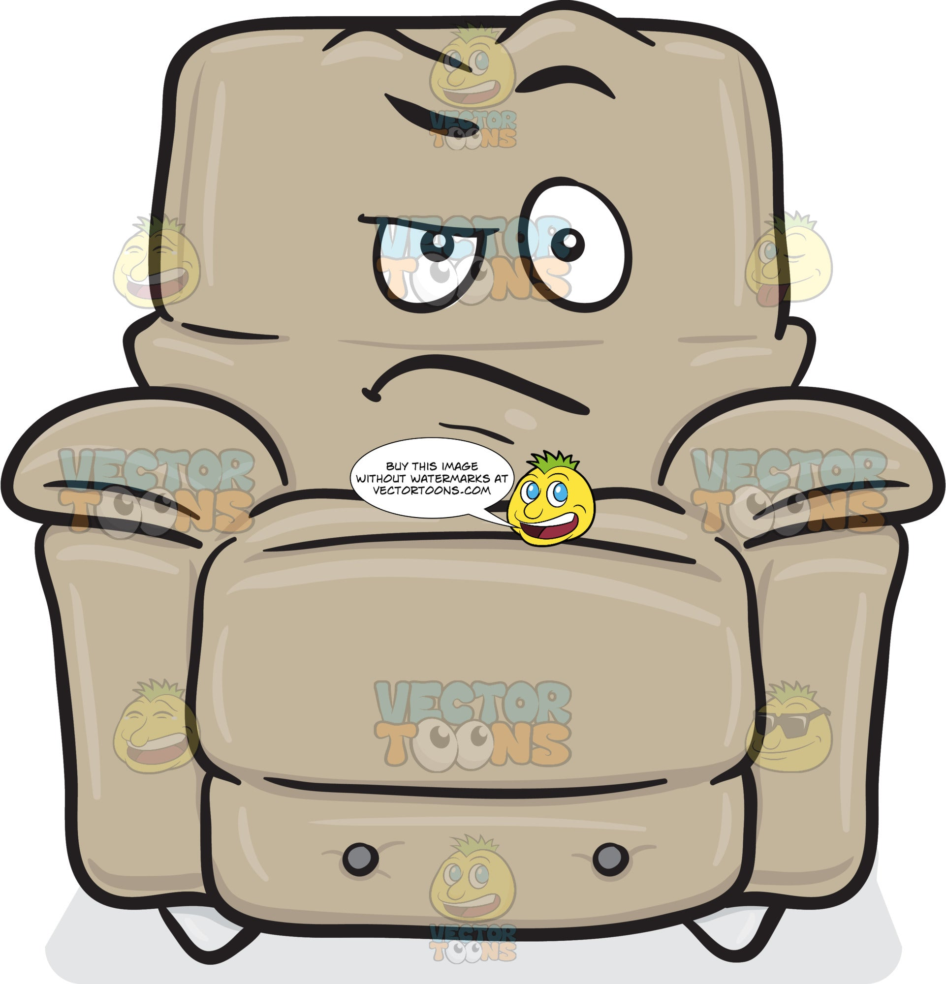 Stuffed Chair With Doubtful And Sarcastic Look On Face Emoji