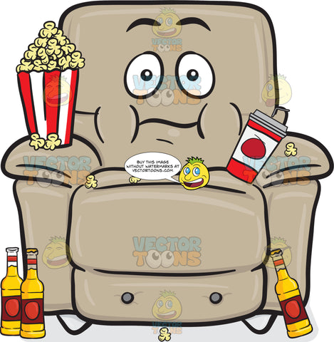 Stuffed Chair With Popcorn Cup And Beer Bottles Emoji