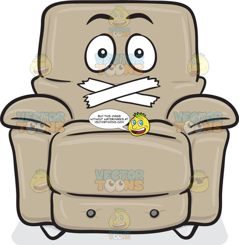 Stuffed Chair With Taped Mouth Emoji