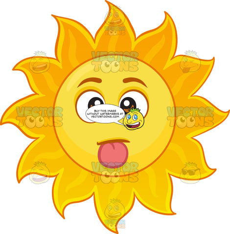 A Sun Emoji With Its Tongue Out