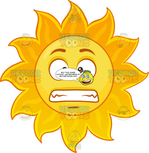 A Grossed Out Sun Emoji