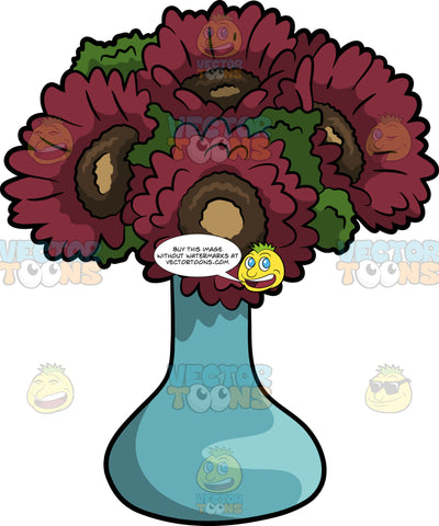 A Vase Of Red Sunflowers