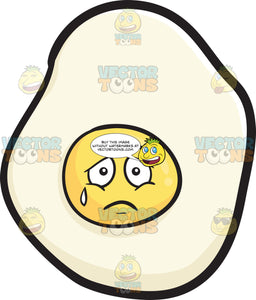 Sunny Side Up Egg Expressing Sadness With A Tear Emoji