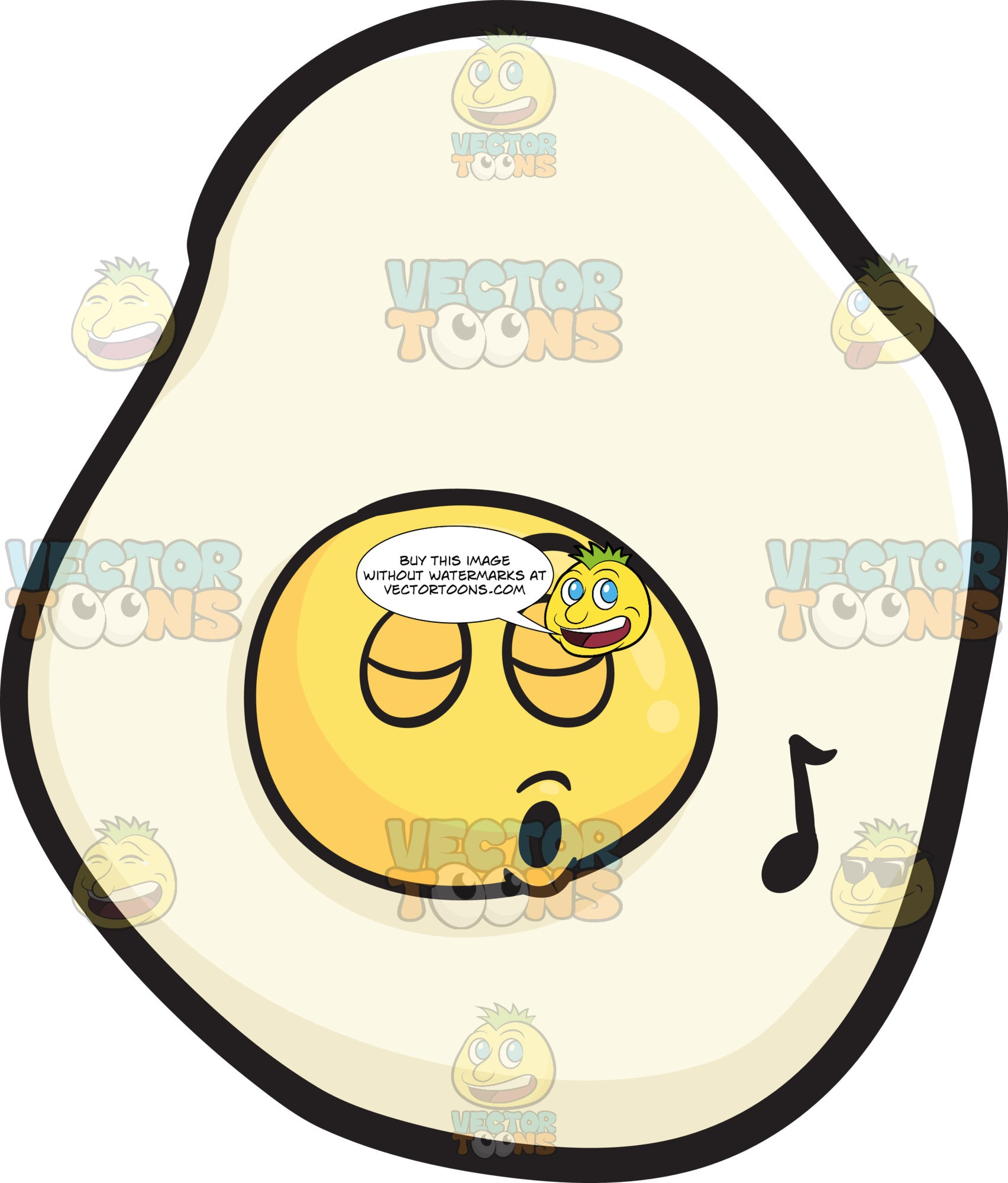 Sunny Side Up Egg Singing In Pleasure Emoji