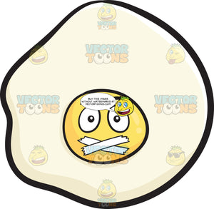 Sunny Side Up Egg With Taped Mouth Emoji