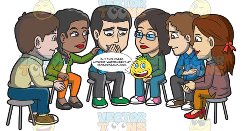 A Group Of People Consoling A Sad Man During A Support Group Session