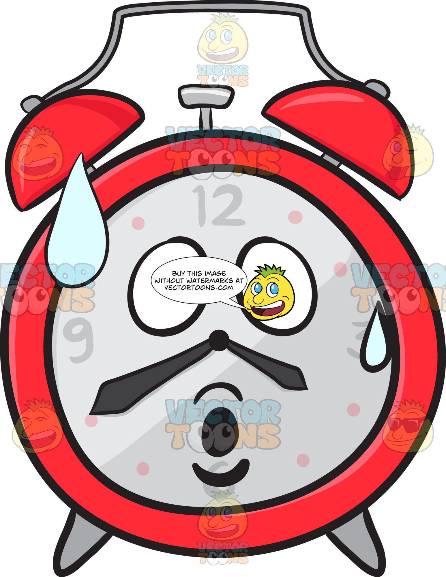 Surprised And Sweating Alarm Clock Emoji