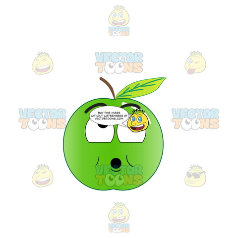 Surprised Green Apple Looking Above Emoji