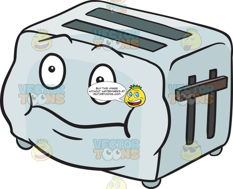 Surprised Pop Up Toaster With Puffed Cheeks Emoji
