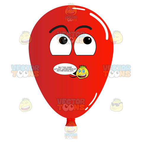 Surprised Red Balloon Looking Up Emoji