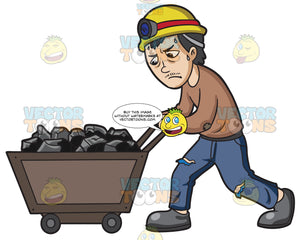 A Mineworker Pushing A Cart Of Coal