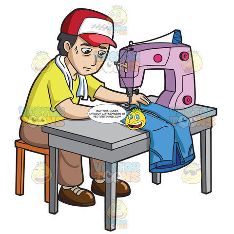 A Factory Worker Sewing A Pair Of Jeans