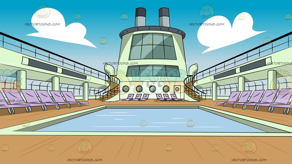 Swimming Pool Deck On A Cruise Ship Background