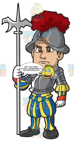A Swiss Guard Wearing An Armor