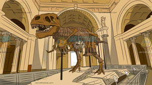 T-Rex Skeleton Museum Display Background
