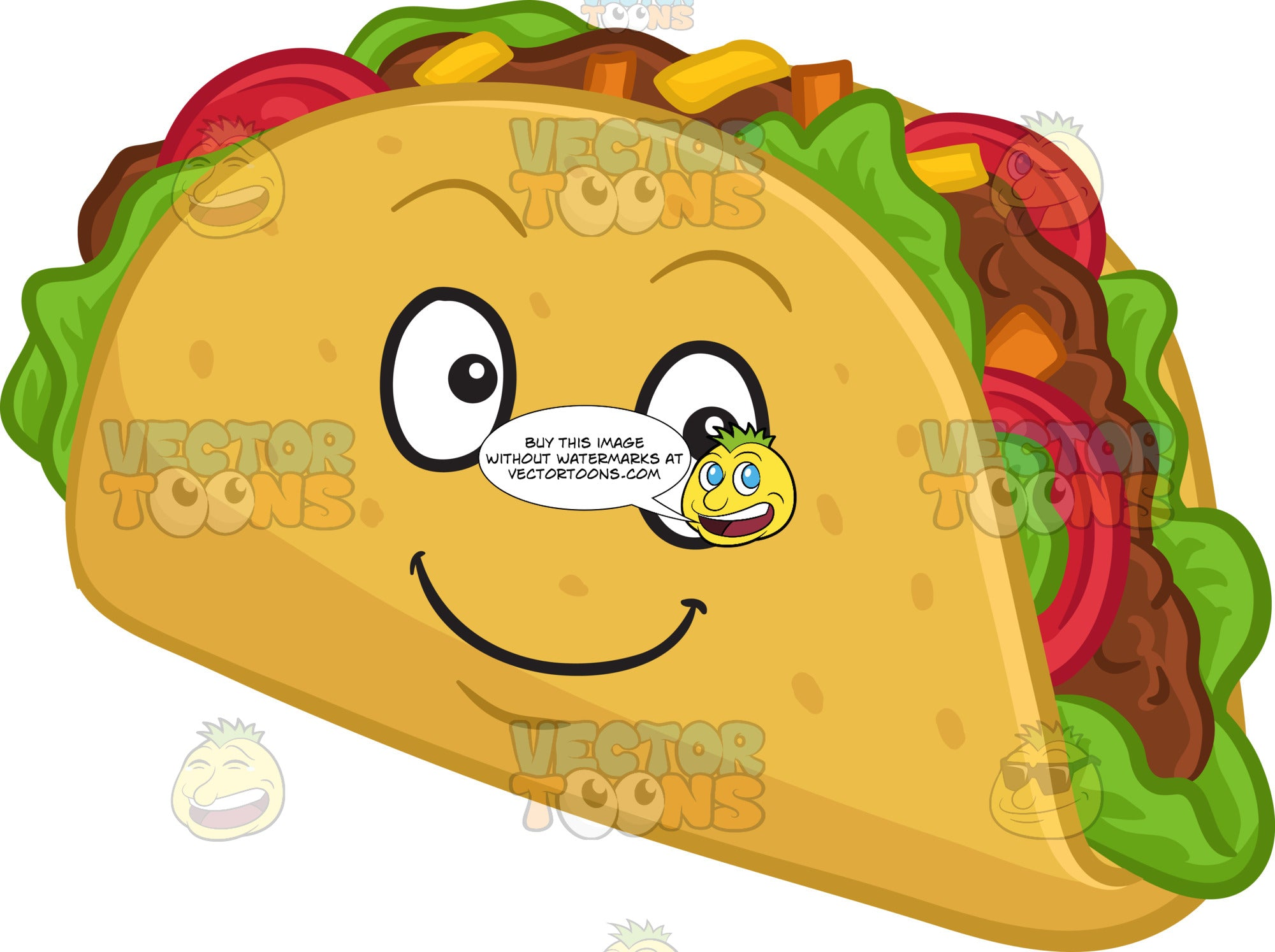 A Smiling Hard Shell Taco Snack