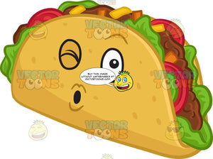 A Winking Hard Shell Taco Snack Blowing Some Kisses