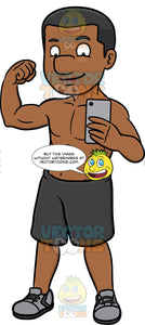 A Black Guy Flexing His Muscle While Posing To Take A Photo Of Himself