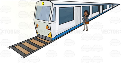 A Black Woman Waiting For The Passenger Train To Stop