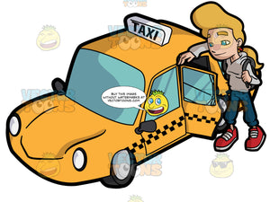 A Young Woman About To Ride A Yellow Cab