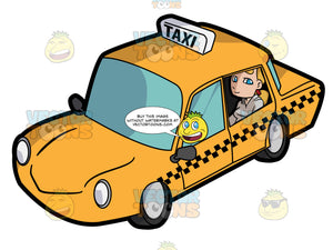 A Young Woman Inside A Taxi Cab