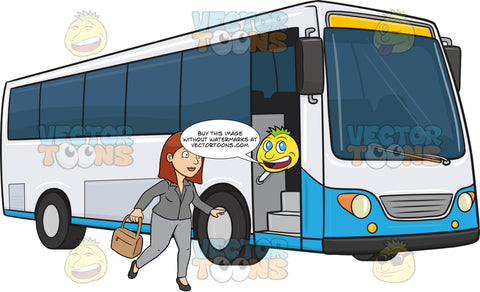 A Woman Who Is About To Enter A Passenger Bus