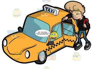 A Young Man About To Ride A Yellow Cab