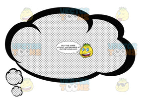 Wispy Talk Cloud With Retro Haltone Dot Print Pattern, Smaller Cloud Tail In Bottom Left