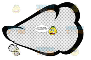 Upward Slanting Curvy Thought Talk Cloud With Inner Retro Haltone Dot Print Pattern, Tail Bottom Left
