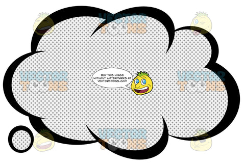 Talk Cloud With Inner Retro Haltone Dot Print Pattern, Smaller Cloud Tail Bottom Left