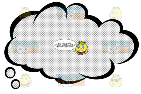 Lumpy Talk Cloud With Inner Retro Haltone Dot Print Pattern, Smaller Cloud, Tail Bottom Left