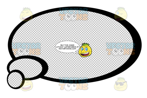 Oval Thought Talk Balloon, With Inner Retro Haltone Dot Print Pattern, Smaller Circles Tail Bottom Left