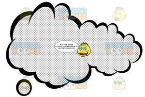 Smooshed Talk Cloud With Retro Haltone Dot Print Pattern Inside, Tail Bottom Left