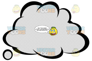 Fluffy Talk Cloud With Retro Haltone Dot Print Pattern Inside, Tail Bottom Left