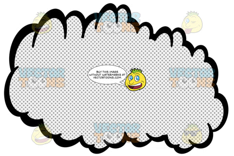 Scrunched Up Talk Cloud With Retro Haltone Dot Print Pattern, No Tail