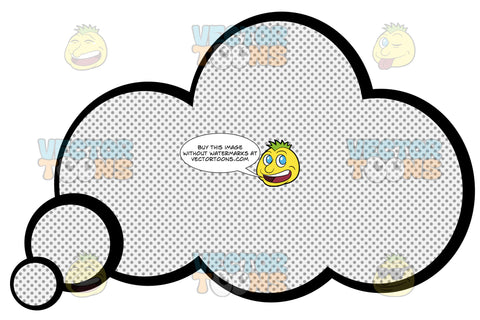 Round Puffy Talk Cloud With Retro Haltone Dot Print Pattern, Circle Tail In Lower Left