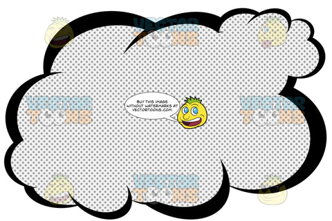 Puffy Talk Cloud With Retro Haltone Dot Print Pattern, Tail In Top Right